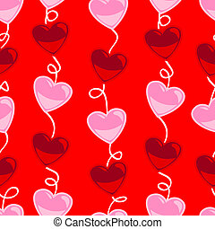 Seamless heart shape pattern over red