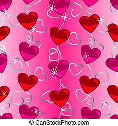 Seamless heart shape pattern with silver ribbon