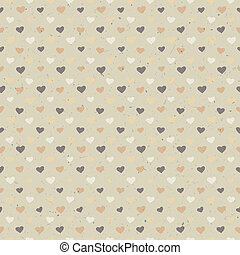 Seamless hearts pattern on paper texture. Vector, EPS10