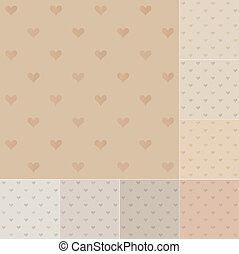 seamless hearts pattern on recycled paper, cardboard
