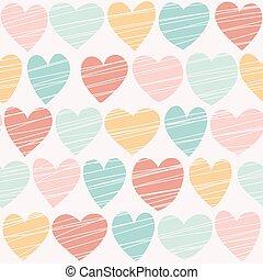 Seamless hand drawn hearts pattern. Retro colors.