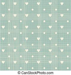 seamless hearts polka dot pattern with retro texture