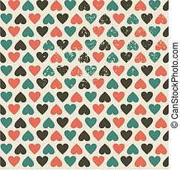 seamless hearts retro pattern
