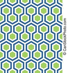 seamless, hexágono, em, verde azul