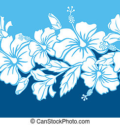 seamless, hibiskus, hybrid, mönster