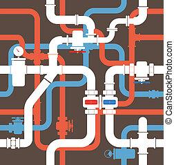 Wasser, rohrleitung, seamless, hintergrund Vektor Clipart - Suchen ...