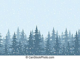 seamless, hintergrund, weihnachtsbäume, mit, schnee
