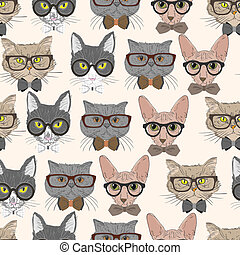 Seamless hipster cats pattern background vector illustration