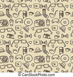 Seamless Hipster pattern in beige color