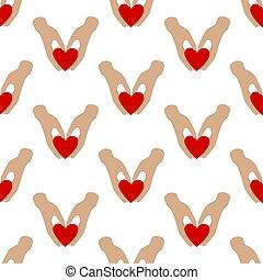 seamless, hjärta mönstra, räcker