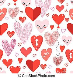 Seamless holiday pattern with different loving hearts