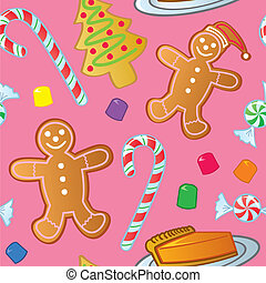A seamless pattern of holiday cookies, candy and other sweet confections.