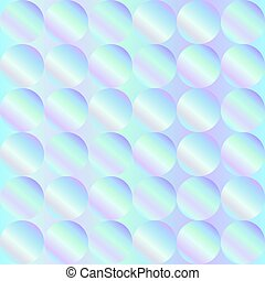 Seamless holographic abstract pattern. Geometric print composed of circles on holographic background. Hologram.