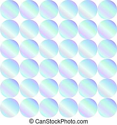 Seamless holographic abstract pattern. Geometric print composed of circles on white background. Hologram.