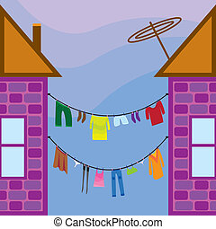 seamless home - Washed clothes on a line between the houses