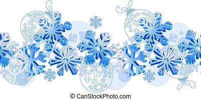 seamless, horisontellt mönster, med, blå, 3, snowflakes.
