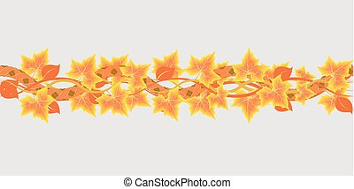 maple leaves - Seamless horizontal border with autumn maple...