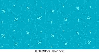 Seamless horizontal border with plane paths