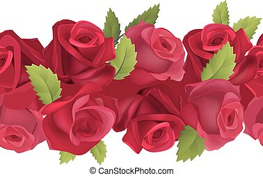 Seamless horizontal border with red roses