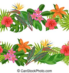 Seamless horizontal borders with tropical plants, leaves and flowers. Background made without clipping mask. Easy to use for backdrop, textile, wrapping paper