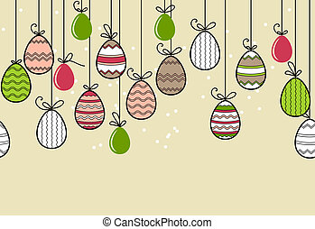 Seamless horizontal easter border with hanging eggs