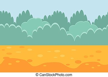 Seamless Horizontal Landscape for a Game, Bushes and Sand.