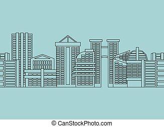 Seamless horizontal ornament City skyscrapers, buildings. Vector modern city, metropolis