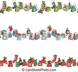 Seamless horizontal pattern brush with Christmas gift boxes...