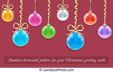 Seamless horizontal pattern for Christmas card with balls...