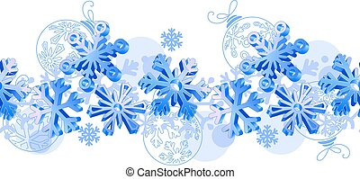 Seamless horizontal pattern with blue 3d snowflakes.