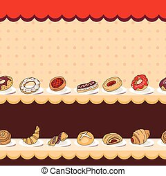 Seamless horizontal pattern with different kinds of pastry on counter