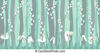 Seamless horizontal pattern with snowdrops - Seamless...