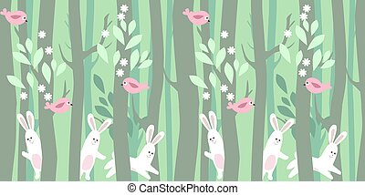 Seamless horizontal pattern with trees and rabbits -...