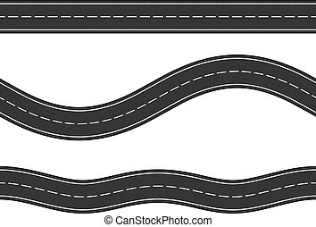 Three seamless horizontal asphalt roads on white background, vector eps10 illustration