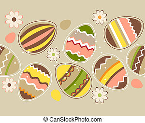 Seamless horizontal spring pattern with easter eggs