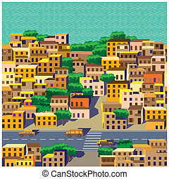 the old district - seamless horizontal stylized composition...