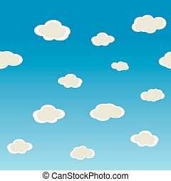 Seamless  horizontal vector texture with clouds