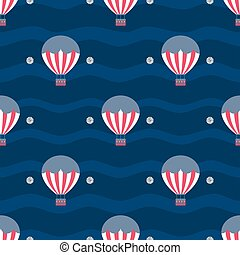 seamless hot air balloon with silver dot glitter pattern on blue stripe background