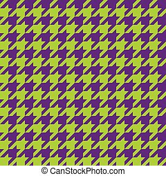 Seamless houndstooth pattern in purple and green