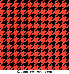 Seamless houndstooth pattern in red and black.
