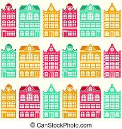 Seamless house pattern - Dutch, Amsterdam houses, mid-century modern style