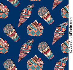 Seamless ice cream background pattern in vector.