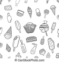 Seamless ice cream pattern - Seamless hand drawn ice cream...
