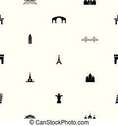 seamless, icon., värld, mönster, milstolpar, bakgrund