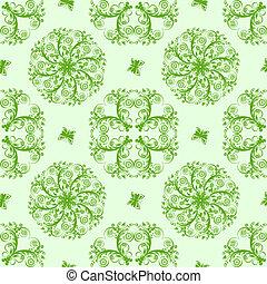 seamless, illustartion, farfalle, vettore, sfondo verde, floreale