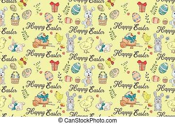 seamless, illustration, fond, attributes, dessins, style, paques, inscription, 1, salutations, dépeindre, isolé, vacances, griffonnage, modèle, conception couleur