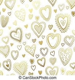 seamless, illustration, hand, vektor, hearts., bakgrund, oavgjord
