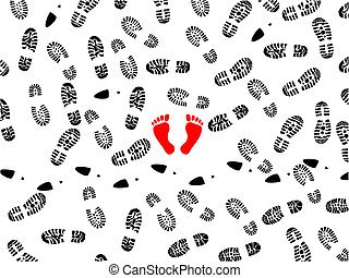foot prints - seamless illustration of foot prints with two ...