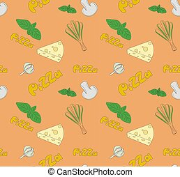 Seamless illustration on the theme of pizza.