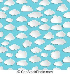 seamless illustration pattern of clouds on a blue background